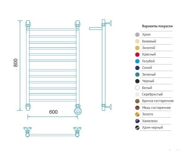 полотенцесушитель МАРГРОИД В10 600х800 премиум