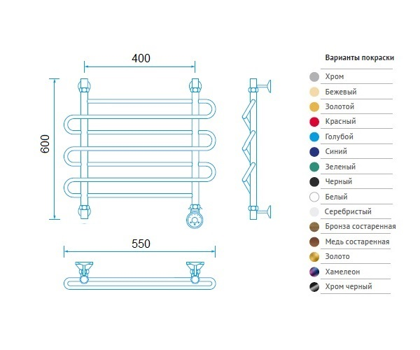 полотенцесушитель МАРГРОИД В2 550х600 премиум