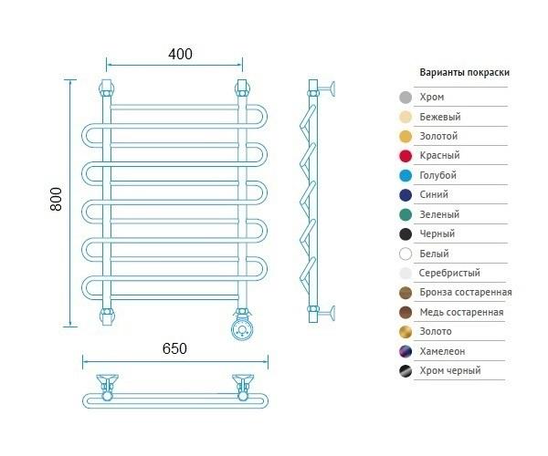 полотенцесушитель МАРГРОИД В2 650х800 премиум