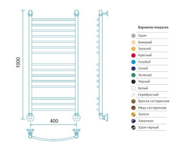 полотенцесушитель МАРГРОИД В5 400х1000 премиум