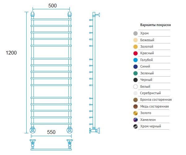 полотенцесушитель МАРГРОИД В61 550х1200 премиум