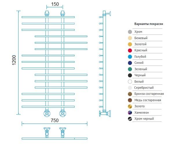 полотенцесушитель МАРГРОИД В65 750х1200