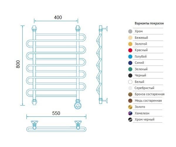 полотенцесушитель МАРГРОИД В2 550х800 премиум