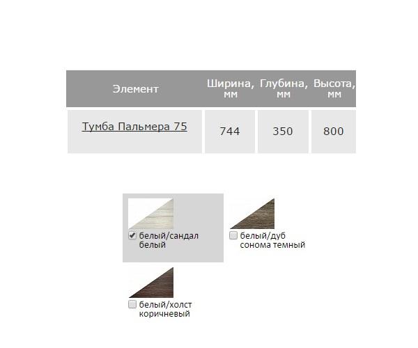 тумба с раковиной НОРТА ПАЛЬМЕРА 75