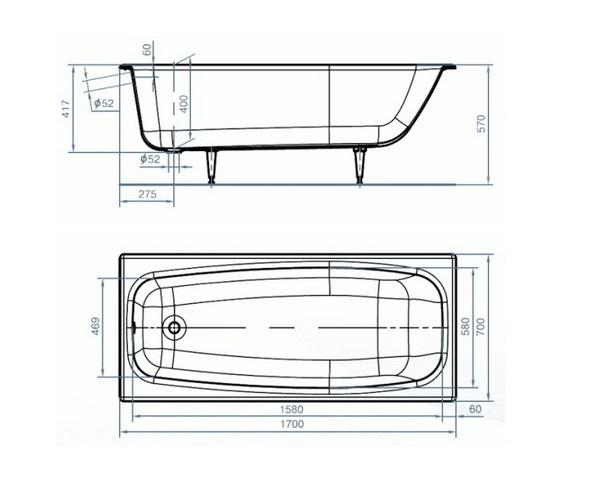 ванна чугунная УНИВЕРСАЛ ГРАЦИЯ 170х70