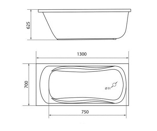 ванна акриловая 1MARKA CLASSIC 130х70