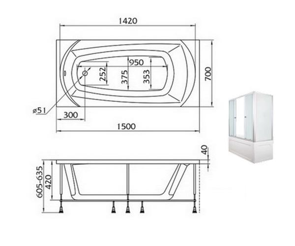 ванна акриловая 1MARKA ELEGANCE 150х70