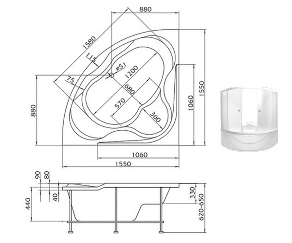 ванна акриловая 1MARKA LUXE 155х155