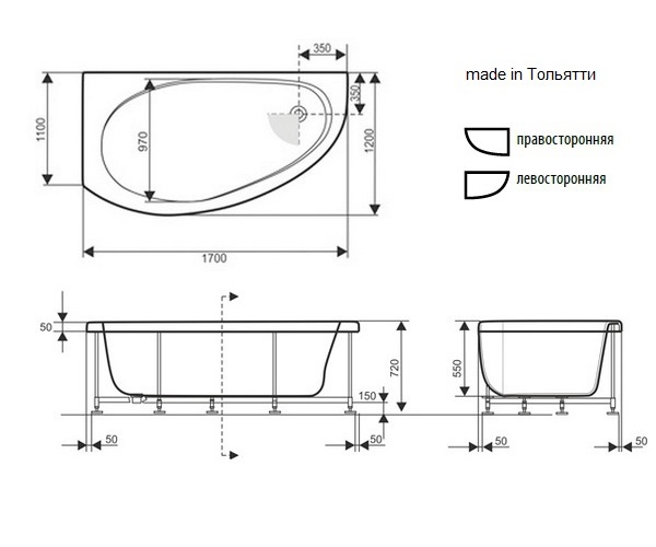 ванна акриловая SEVEN LUXE ДИАНА 170х120