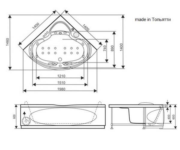 ванна акриловая SEVEN LUXE ЭГОС 140х140