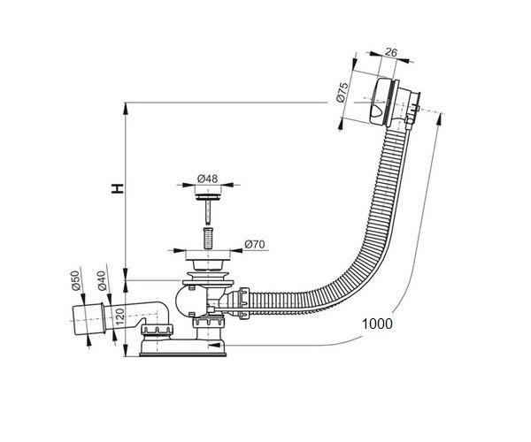 перелив для ванны ALCAPLAST A51BM-100
