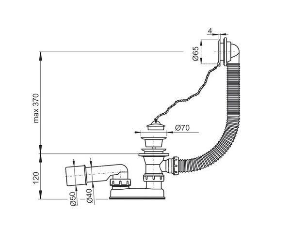 перелив для ванны ALCAPLAST A502