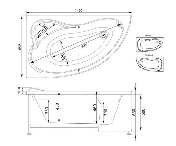 ванна акриловая AQUANET ATLANTA 150х90
