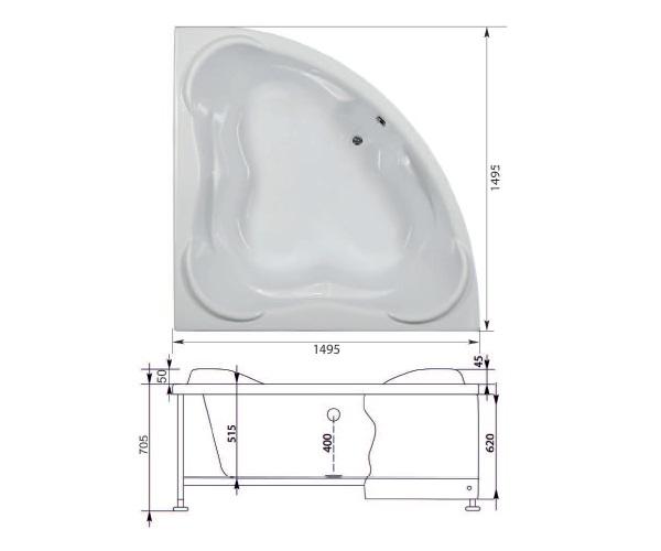 ванна акриловая AQUANET FLORES 150х150