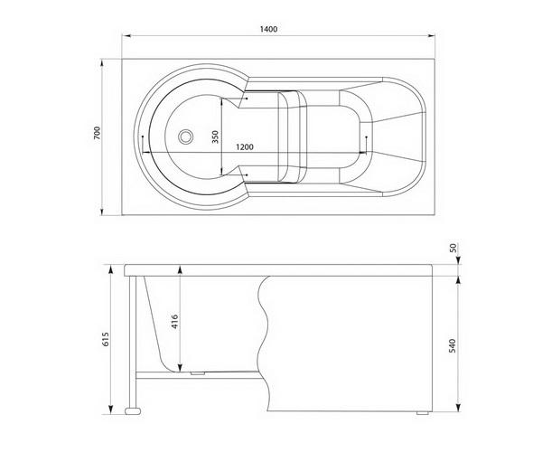 ванна акриловая AQUANET LARGO 140х70