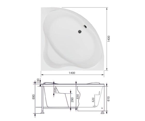 ванна акриловая AQUANET PALAU 140х140