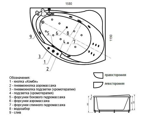 ванна акриловая AQUATEK АЛЬТАИР 160х120