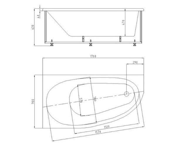 ванна акриловая AQUATEK ДИВА 170х90