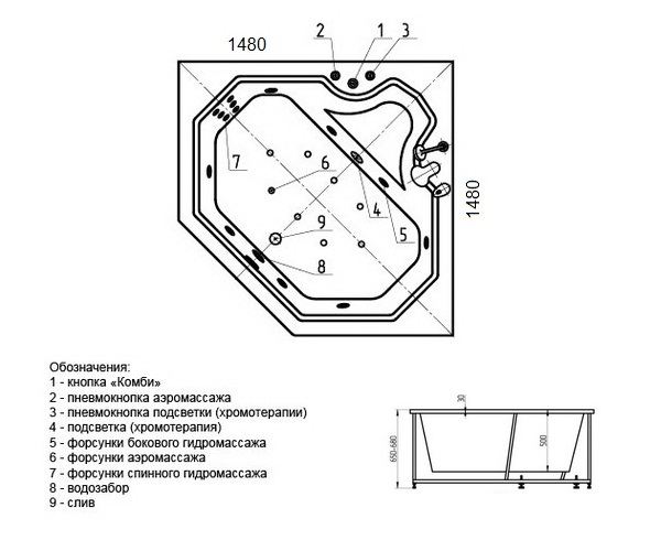 ванна акриловая AQUATEK ЛИРА 150х150