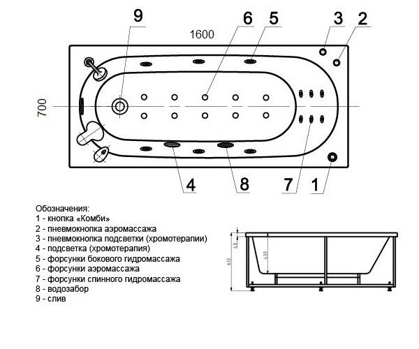 ванна акриловая AQUATEK ОБЕРОН 160х70