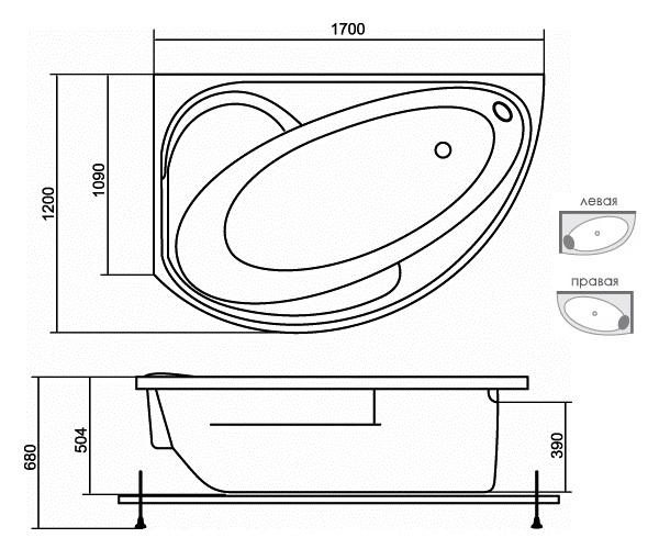 ванна акриловая AQUATIKA АРКТИКА 170х120