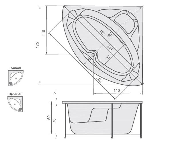 ванна акриловая AQUATIKA МАКСИМА 175х175