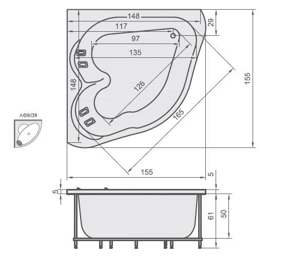 ванна акриловая AQUATIKA МАТРИЦА 155х155