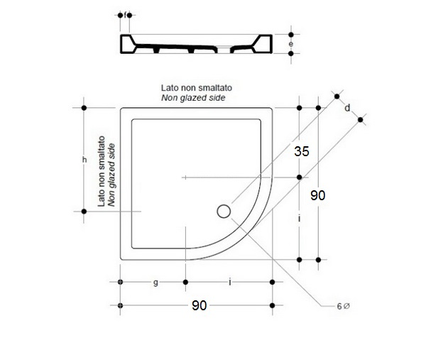 поддон керамический AXA PIATTO 90