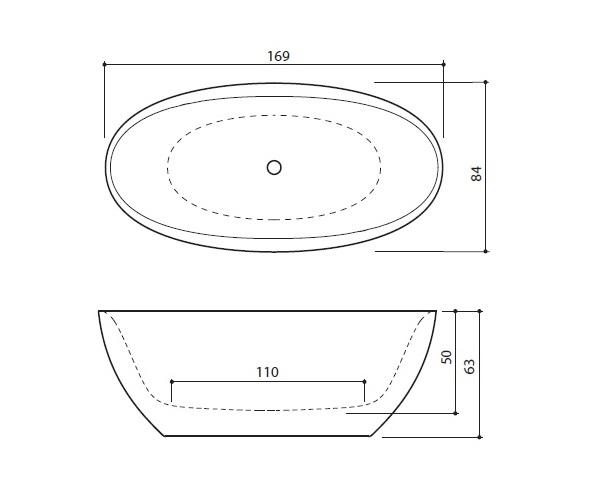 ванна из литьевого мрамора BALTECO FLO 169х84