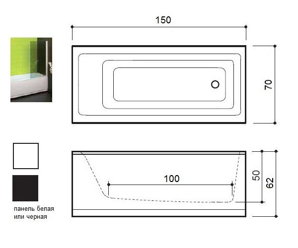 ванна акриловая BALTECO FORMA 150х70