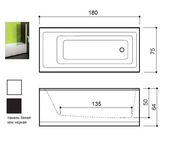 ванна акриловая BALTECO FORMA 180х80