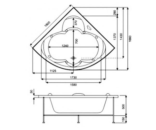 ванна акриловая BAS ДРОВА 160х160