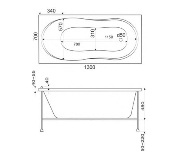 ванна акриловая BAS ЛИМА 130х70