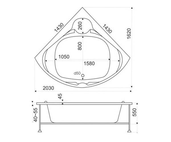 ванна акриловая BAS ХАТИВА 143х143