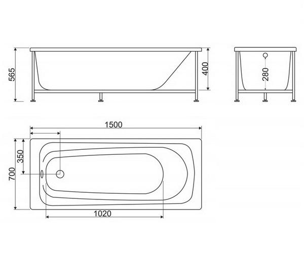 ванна акриловая BELBAGNO BB102 150х70
