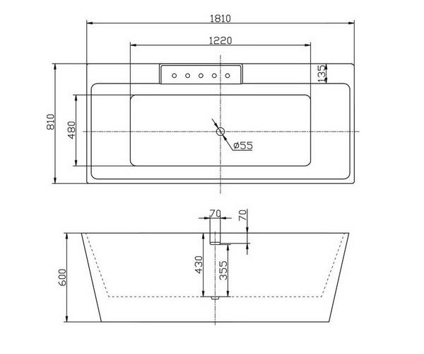 ванна акриловая BELBAGNO BB19 181х81