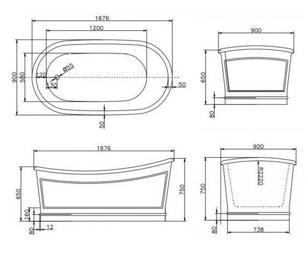 ванна акриловая BELBAGNO BB32 167х90