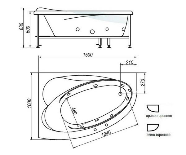 ванна акриловая BELLRADO ГЛОРИЯ 150х100