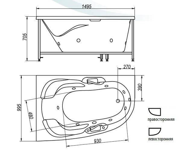 ванна акриловая BELLRADO ДЕНИ 150х100
