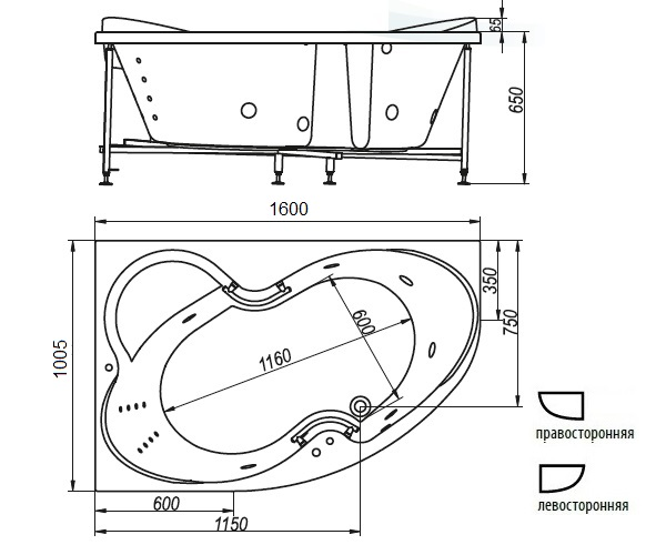 ванна акриловая BELLRADO ИНДИГО 160х100