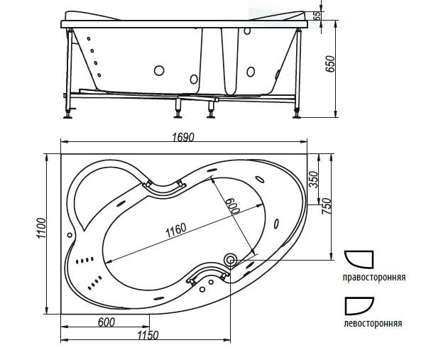 ванна акриловая BELLRADO ИНДИГО 169х110