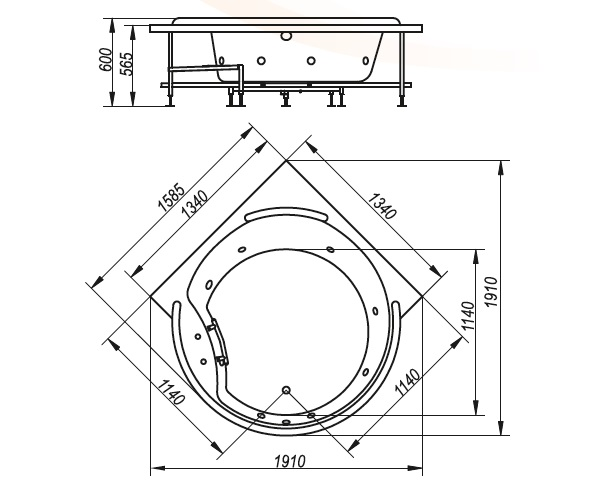 ванна акриловая BELLRADO МАРШАЛ 159х159