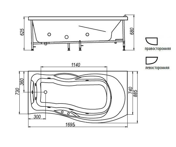 ванна акриловая BELLRADO МИЛЕН 170х89