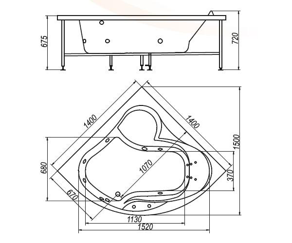 ванна акриловая BELLRADO САНДРА 140х140