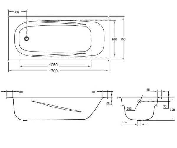 ванна стальная BLB ANATOMICA 170х75