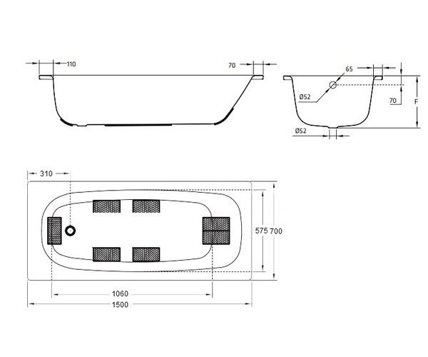 ванна стальная BLB UNIVERSAL HG 150х70