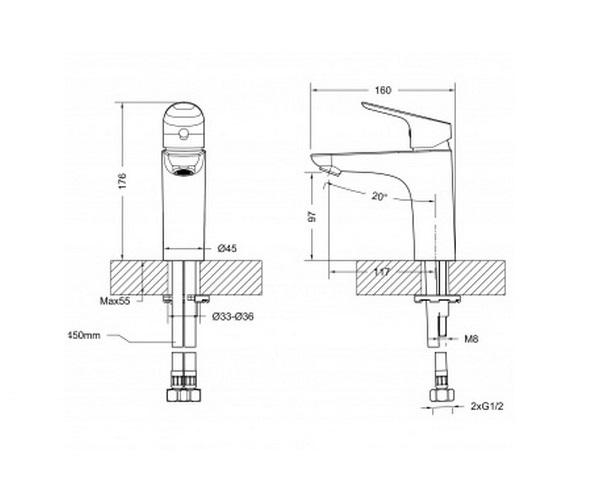 смеситель для раковины BRAVAT DROP