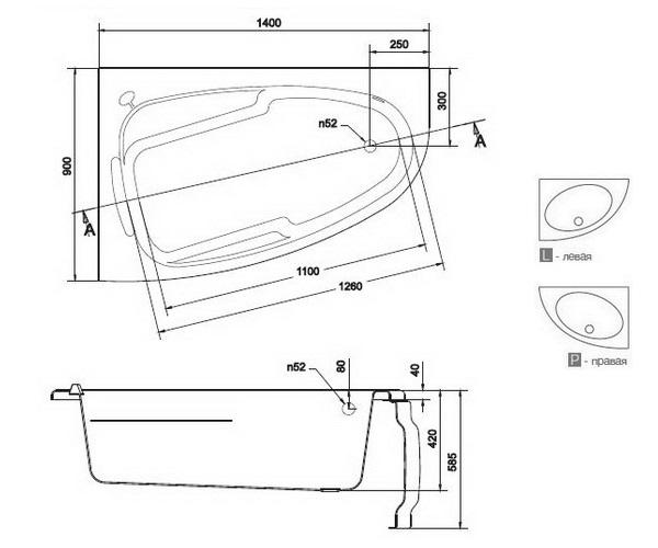 ванна акриловая CERSANIT JOANNA 140х90