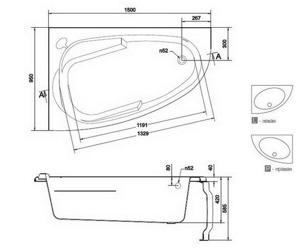 ванна акриловая CERSANIT JOANNA 150х95
