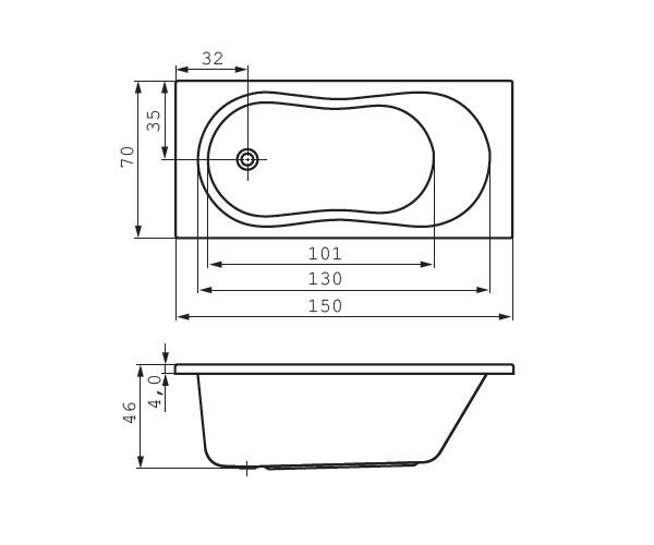 ванна акриловая CERSANIT NIKE 150х70